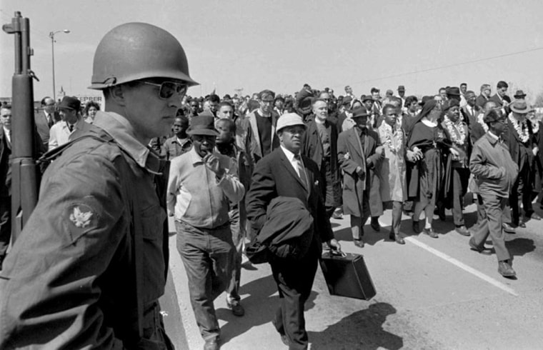 Image: A soldier stands guard in Selma on March 21, 1965, on orders from President Johnson to protect the marchers.
