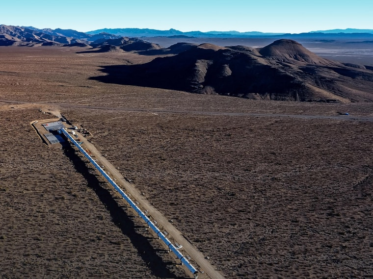 Image: Bird's eye view of the Virgin Hyperloop One looking deep into the North Las Vegas desert