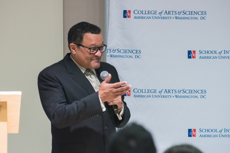 "Ken Morris Jr. addressing the audience at American University at the kick-off event for ""The FD200."""