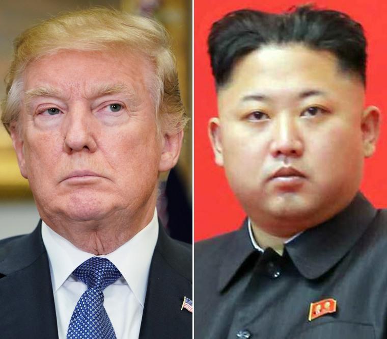 Image: Composite of Donald Trump and Kim Jong Un