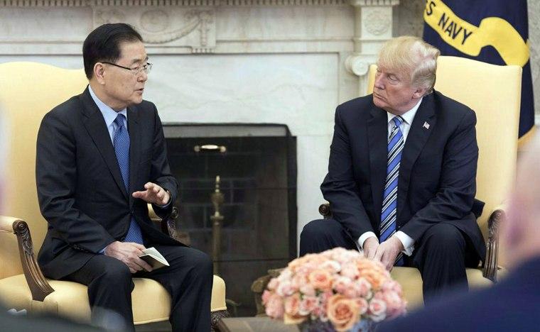 Image: Chung Eui-yong and Donald Trump