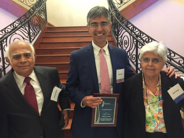 Adeel Mangi with his parents at the South Asian Bar Association of New Jersey Gala.