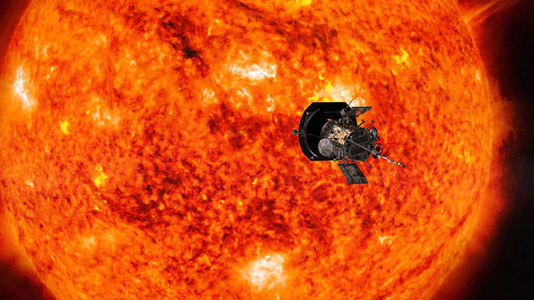 Image: Illustration of the Parker Solar Probe spacecraft approaching the Sun