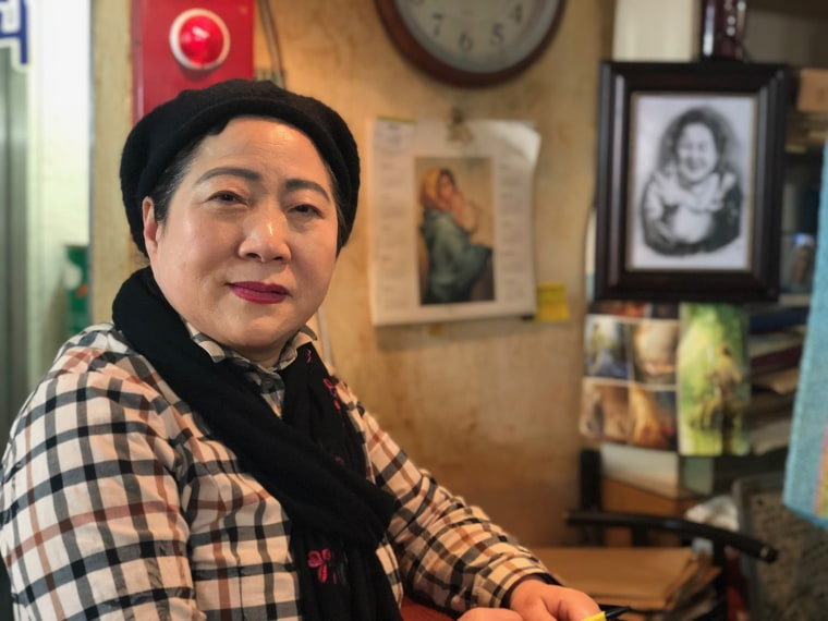 "Image: Bae Jum Ye, 66, owns the ""Olympic Coffee Shop"" in the Seoul district of Jongno"