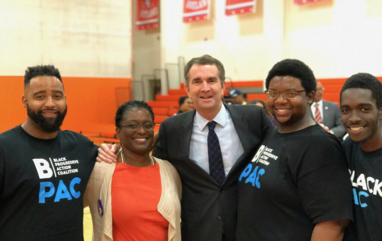 Image: Adrianne Shropshire, second left, with BlackPAC volunteers and Governor-elect Ralph Northam