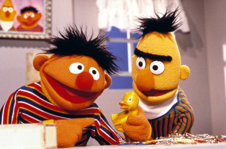 SESAME STREET, Ernie with his Rubber Ducky, and Bert,  1969