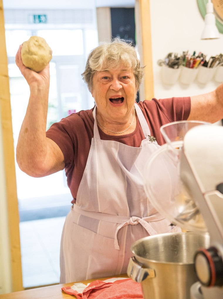 A bakery in Germany hires grandmas to do the work.