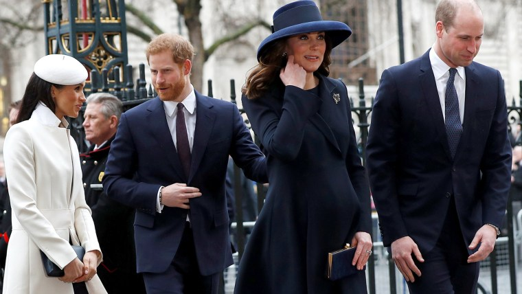Prince Harry, Meghan Markle, Prince William and former Kate Middleton, now the Duchess of Cambridge