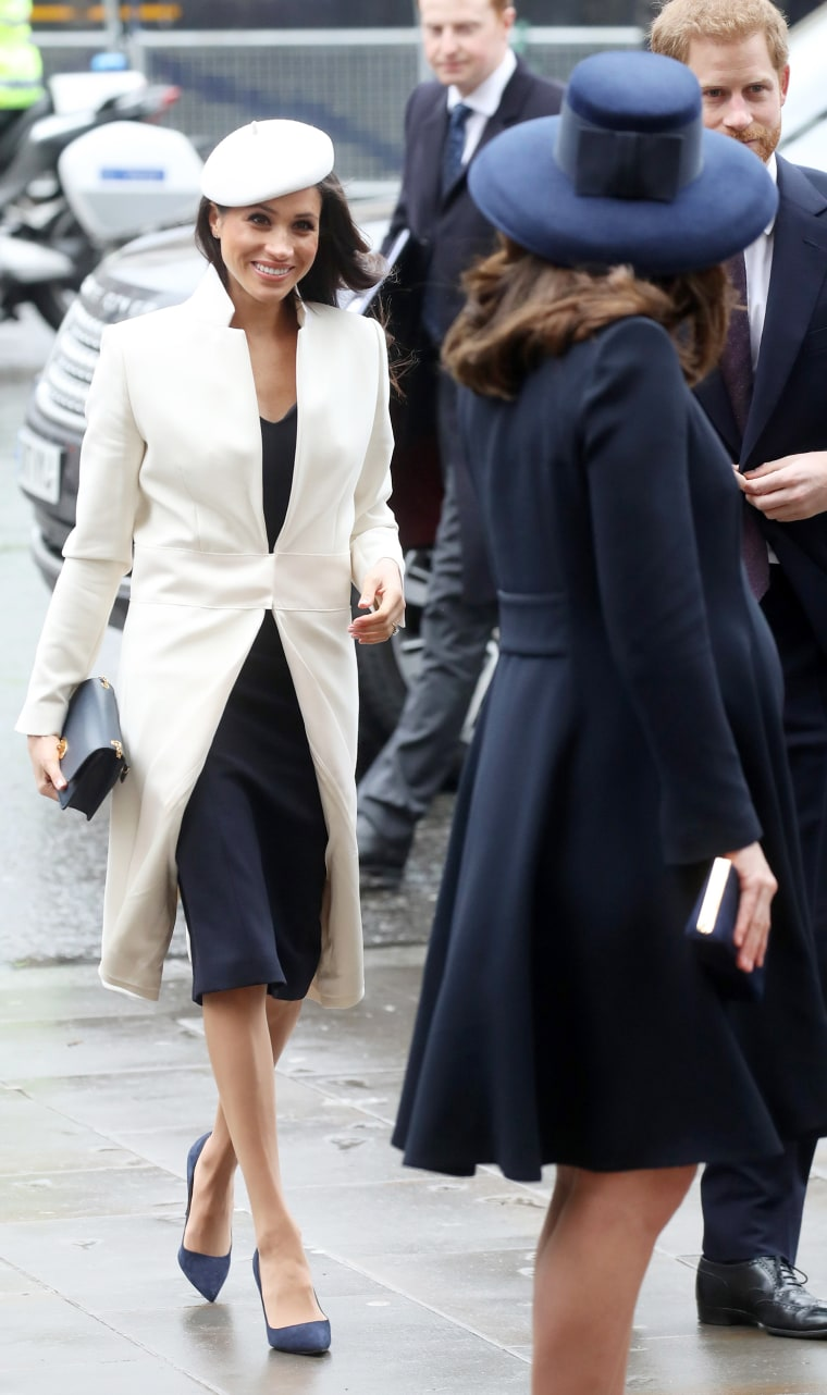 Meghan Markle, Catherine, Duchess of Cambridge and Prince Harry attend the 2018 Commonwealth Day service at Westminster Abbey on March 12, 2018 in London.
