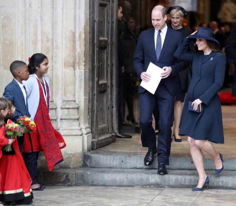 Catherine, Duchess of Cambridge and Prince William, Duke of Cambridge depart from the 2018 Commonwealth Day service at Westminster Abbey on March 12, 2018 in London.