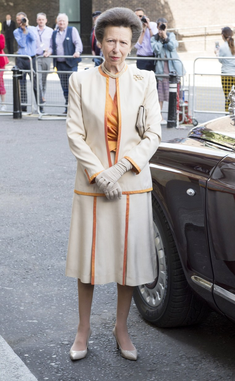 Princess Anne in peach and white outfit