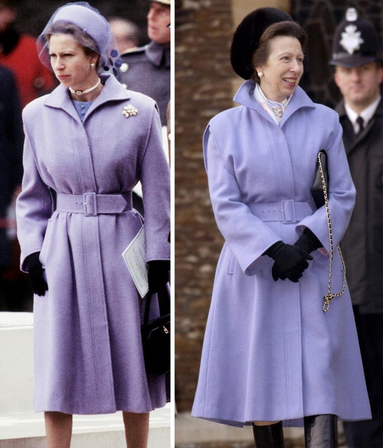 Princess Anne in lavender coat