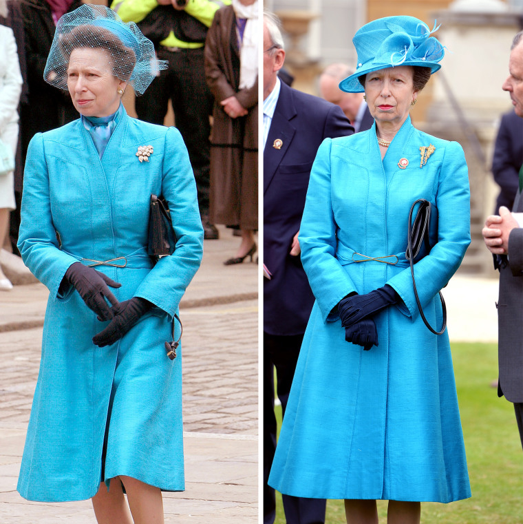 Princess Anne in turquoise coatdress