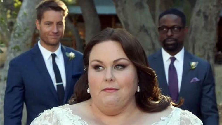 "Kate (Chrissy Metz) was seen walking down the aisle with her brothers behind her in a recent 'This Is Us"" promo video."