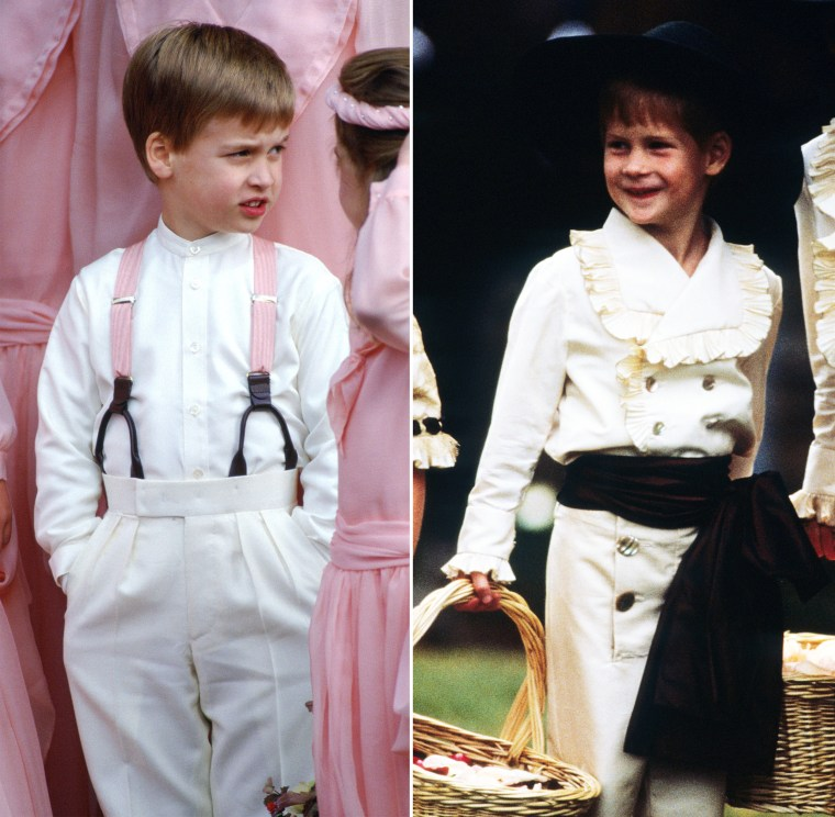 Prince William and Prince Harry as page boys when they were children.