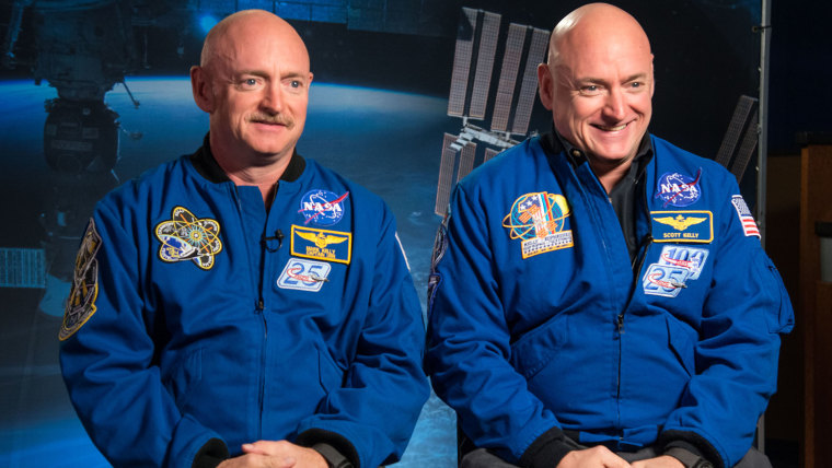 Expedition 45/46 Commander, Astronaut Scott Kelly along with his brother, former Astronaut Mark Kelly speak to news media outlets about Scott Kelly's 1-year mission aboard the International Space Station.  Photo Date: January 19, 2015.  Location: Building