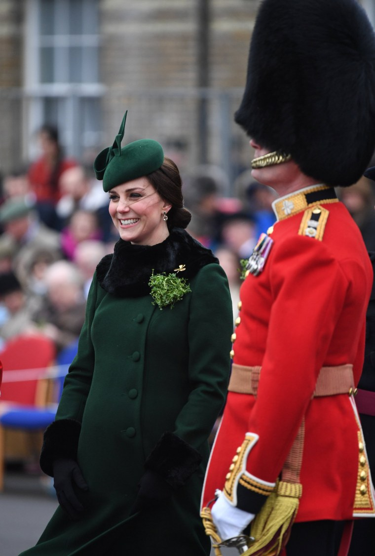 Image: Britain's Catherine, Duchess of Cambridge attends the presentation of Shamrock to the 1st Battalion Irish Guards, at a St Patrick's Day parade at Cavalry Barracks in Hounslow, London