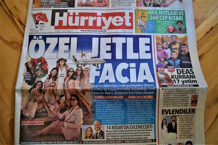 Image: Turkey's Hurriyet newspaper's first page