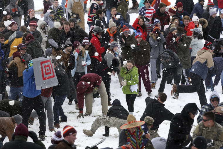 Image: Snowball fight at Virginia Tech