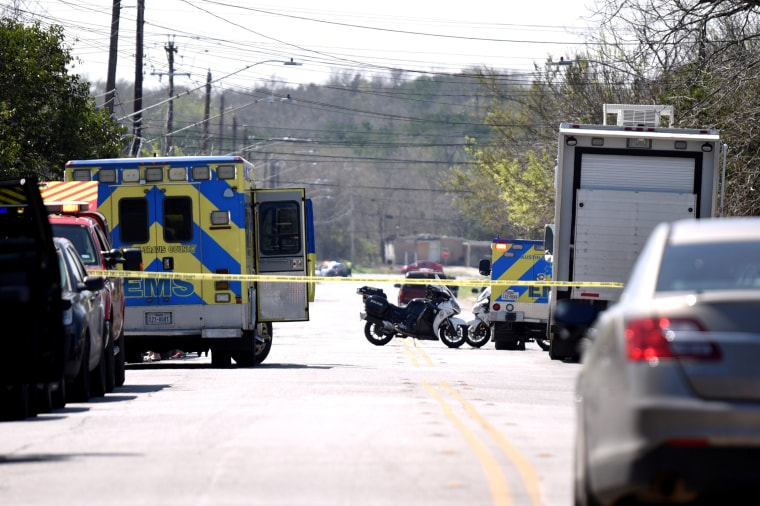 Image: Police attend the scene of an explosion on Galindo Street in Austin