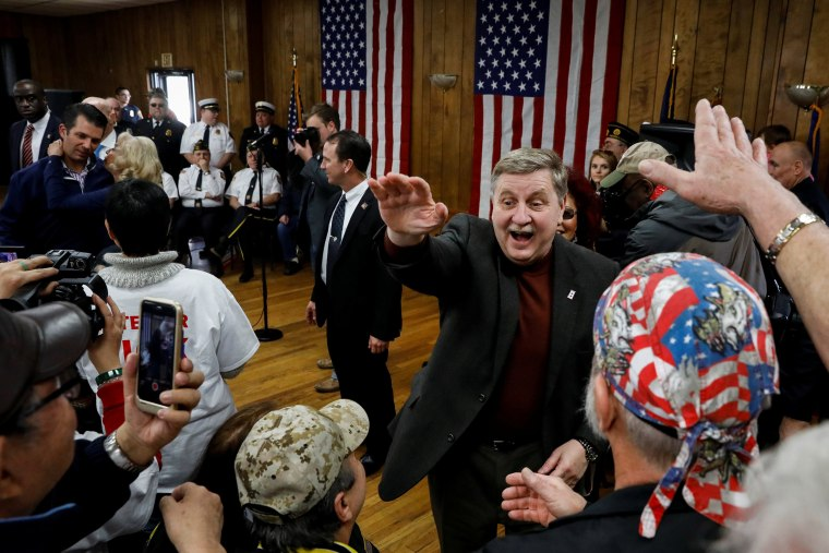 Image: Republican congressional candidate Rick Saccone is greeted by supporters during a campaign event at the Blaine Hill Volunteer Fire dept. in Elizabeth Township