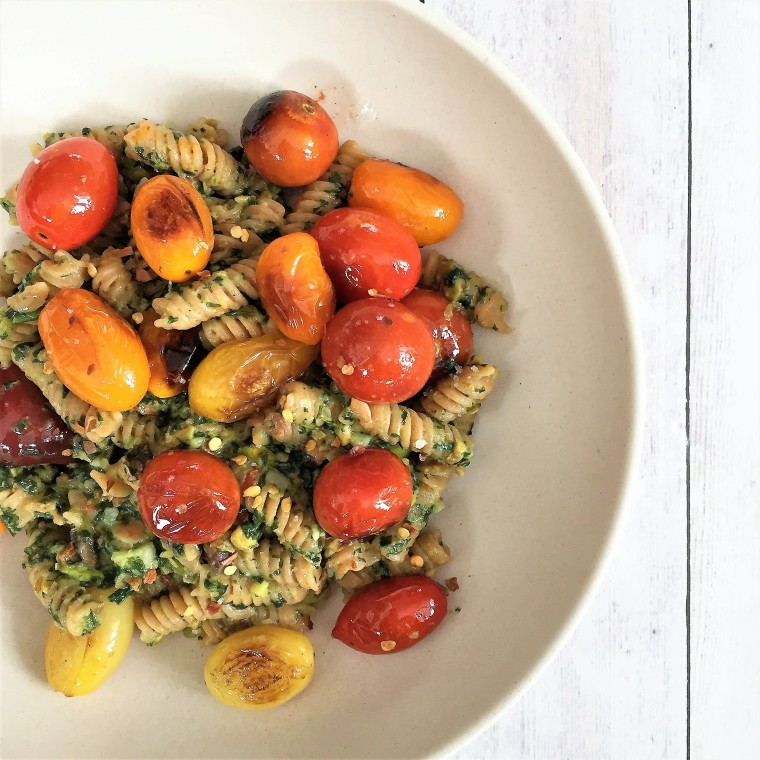 Red lentil pasta with vegan basil-pistachio pesto
