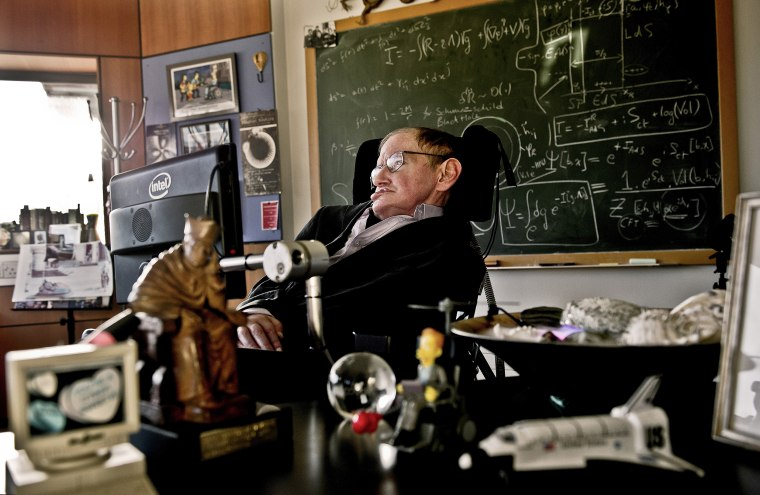 Image: Physicist Stephen Hawking is seen in his office at the University of Cambridge in this photo handed out by the Science Museum