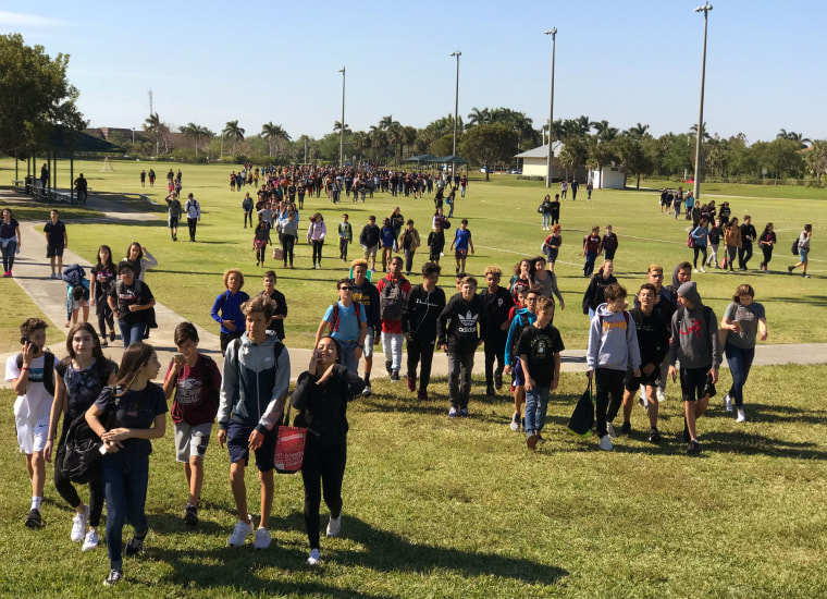 Image: Students from West Lakes Middle School and Marjory Stoneman Douglas High School walkout during National School Walkout to protest gun violence in Parkland Florida