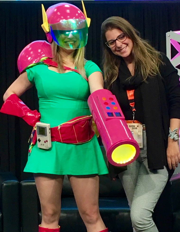 Ana Ribeiro, a virtual reality game developer from Brazil dressed as a game character at SXSW.