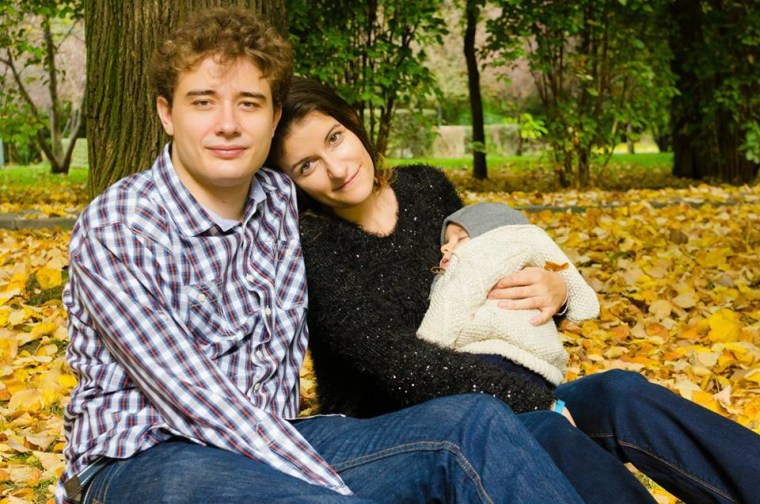 Raluca and Adrian Loteanu and their baby