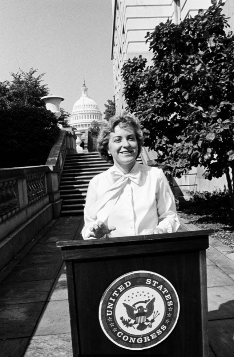 Image:Rep. Marcy Kaptur standing outside the U.S. Capitol during her first few years serving as the representative of Ohio's 9th district.
