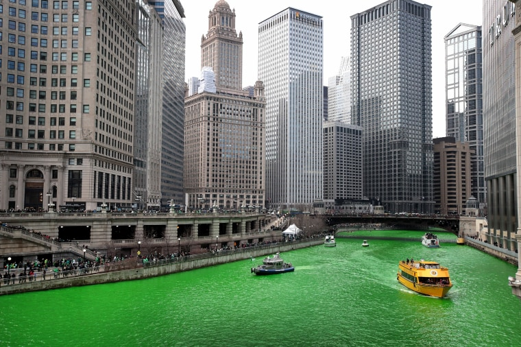 Image: Chicago River Dyed Green In Annual Tradition For St. Patrick's Day