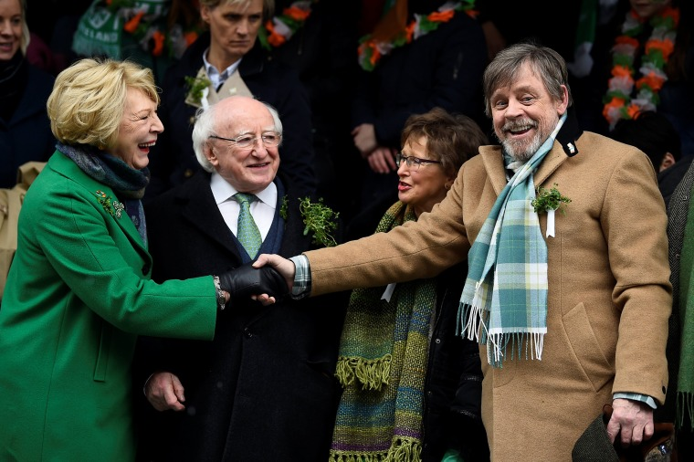 Image: Actor Mark Hamill meets Ireland's President Michael D. Higgins and his wife Sabina at the St. Patrick's Day parade in Dublin