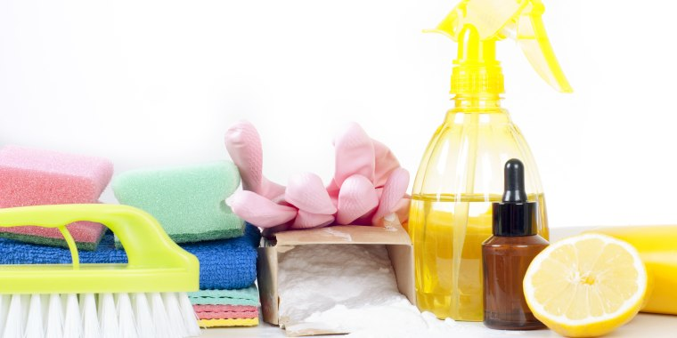 Eco-friendly natural cleaners, cleaning products. Homemade green cleaning on white background.; Shutterstock ID 629579456