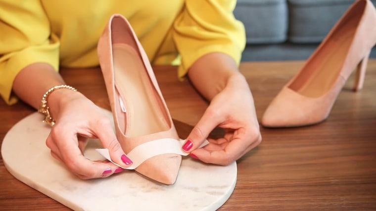 Painted cap-toe shoes