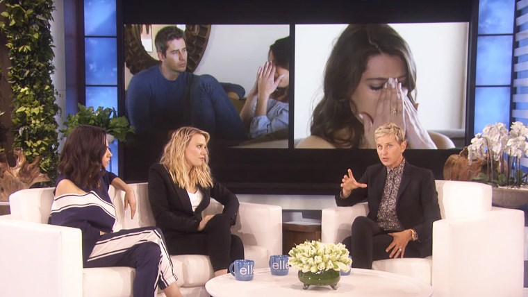 """During a visit to Ellen DeGeneres' daytime talk show, """"The Spy Who Dumped Me"""" co-stars Mila Kunis and Kate McKinnon processed their feelings about this season's """"The Bachelor"""" finale."""