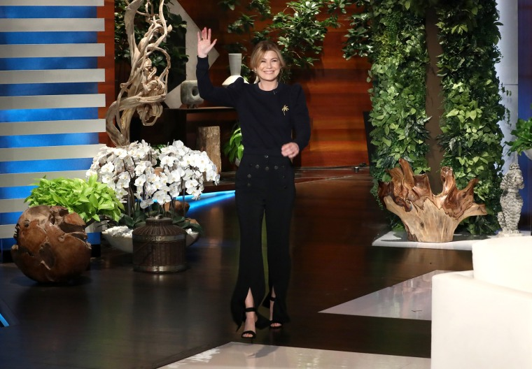 "Ellen Pompeo on  ""The Ellen DeGeneres Show"" is seen at the Warner Bros. lot in Burbank, Calif."