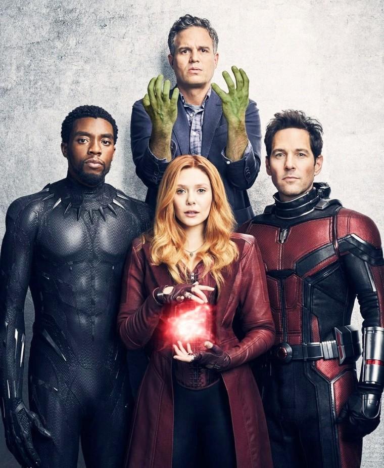 """Chadwick Boseman, Mark Ruffalo, Elizabeth Olsen and Paul Rudd in """"Avengers: Infinity War"""""""