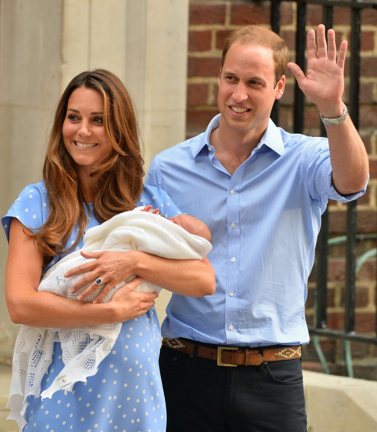 Kate, Duchess of Cambridge, and Prince William after the birth of Prince George