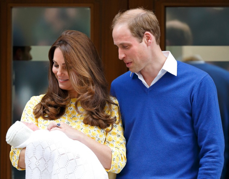 Kate, Duchess of Cambridge and Prince William leave with Princess Charlotte