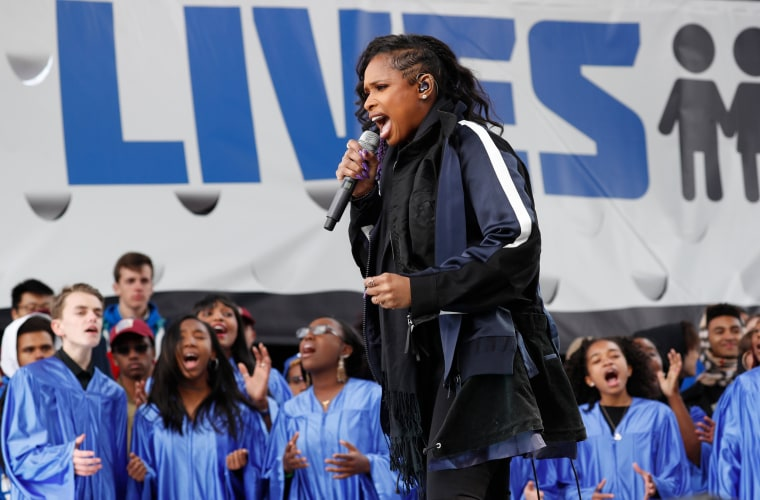 "Singer Hudson performs during the ""March for Our Lives"" rally demanding gun control in Washington"