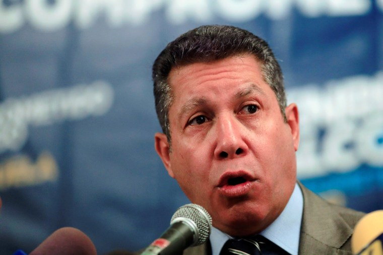 Image: Venezuelan presidential candidate Henri Falcon talks to the media during a news conference in Caracas