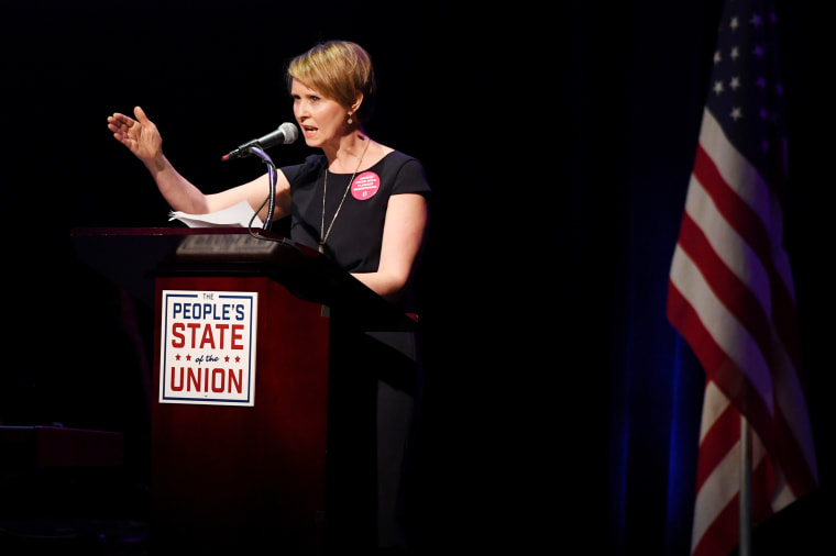 "Actress Cynthia Nixon speaks during the ""People's State of the Union"""
