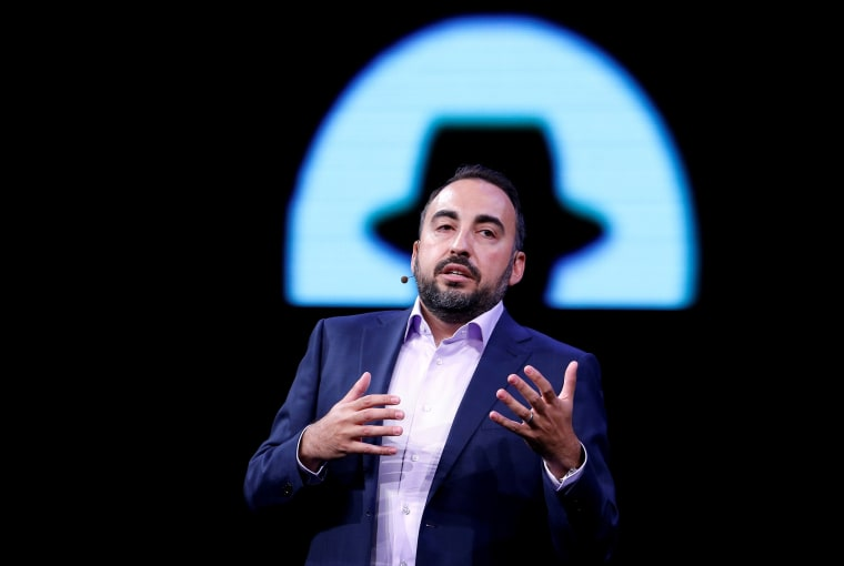 Image: Facebook CSO Alex Stamos gives a keynote address during the Black Hat information security conference in Las Vegas