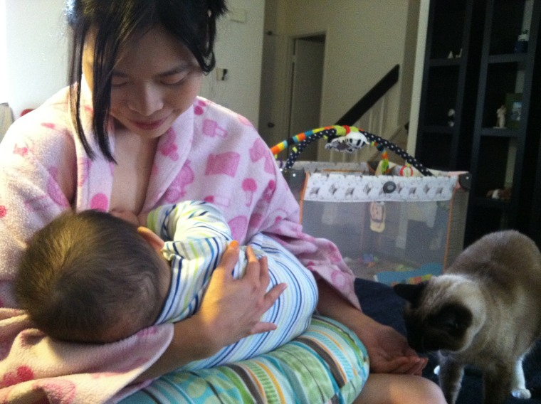 Image: To-wen Tseng nursing her first child, then 6 months old, at home after leaving her full-time job in 2013