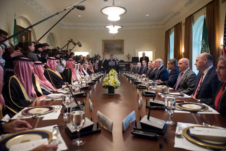 Image: President Donald Trump holds a lunch meeting with Saudi Arabia's Crown Prince Mohammed bin Salman