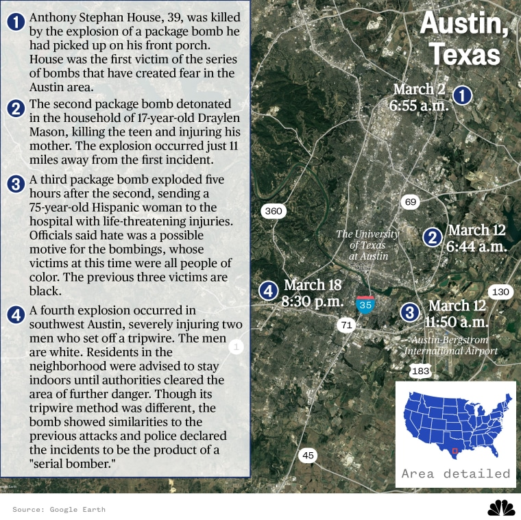Map: Location of four explosions in the Austin area