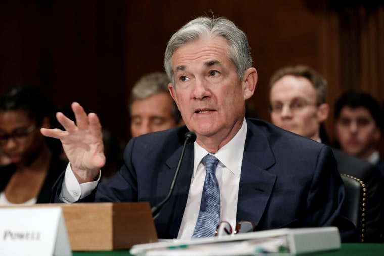 Image: FILE PHOTO:    Federal Reserve Board Chairman Jerome Powell testifies before a Senate Banking Housing and Urban Affairs Committee hearing