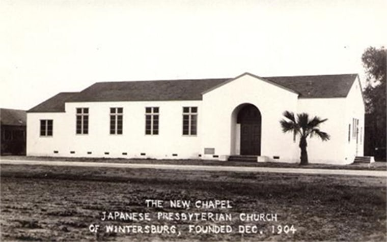 Image: Wintersburg Japanese Church, built in front of the 1910 Mission building, circa 1934. The Church was built during the Great Depression.
