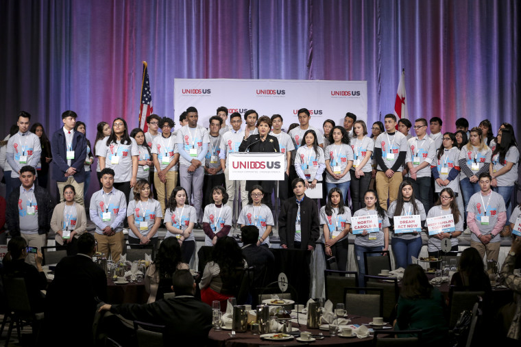 Janet Murguia, of UnidosUS, announced the launch of a voter registration campaign aimed at young Latinos.